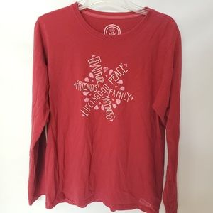 Red Long Sleeve Life is Good T-shirt - Size Large